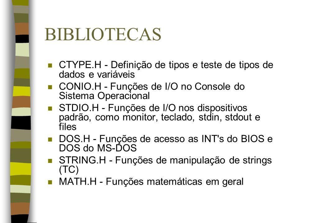 BIBLIOTECAS CTYPE.H - Definição de tipos e teste de tipos de dados e variáveis. CONIO.H - Funções de I/O no Console do Sistema Operacional.