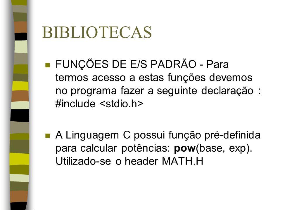 BIBLIOTECAS FUNÇÕES DE E/S PADRÃO - Para termos acesso a estas funções devemos no programa fazer a seguinte declaração : #include <stdio.h>