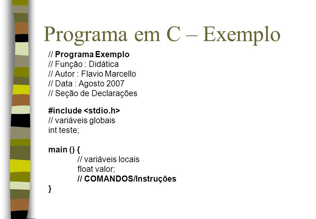 Programa em C – Exemplo // Programa Exemplo // Função : Didática