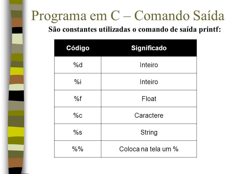 Programa em C – Comando Saída