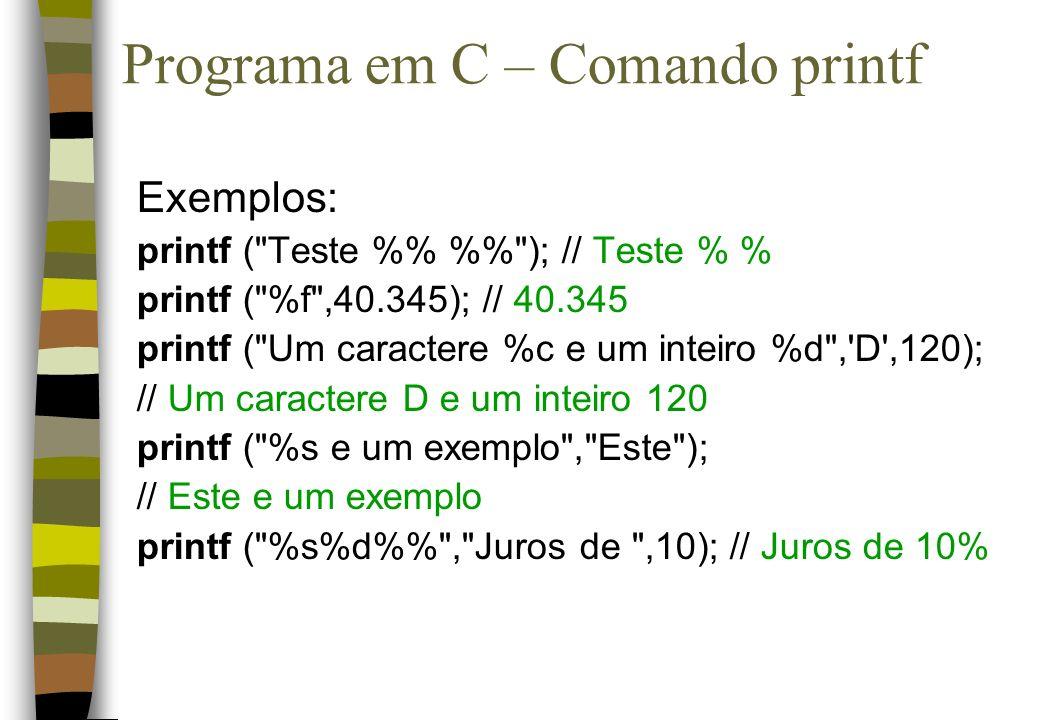 Programa em C – Comando printf