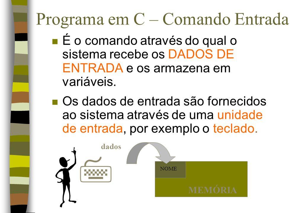 Programa em C – Comando Entrada