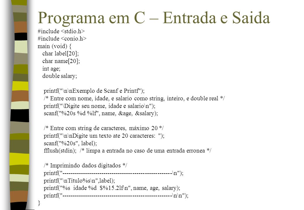 Programa em C – Entrada e Saida