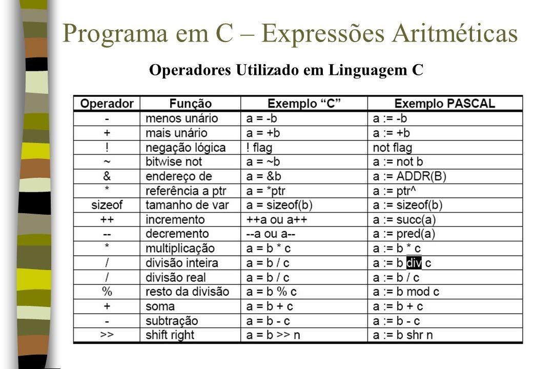 Programa em C – Expressões Aritméticas