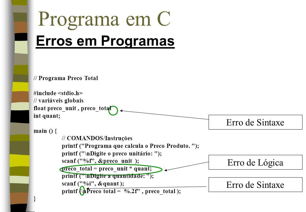 Programa em C Erros em Programas Erro de Sintaxe Erro de Lógica