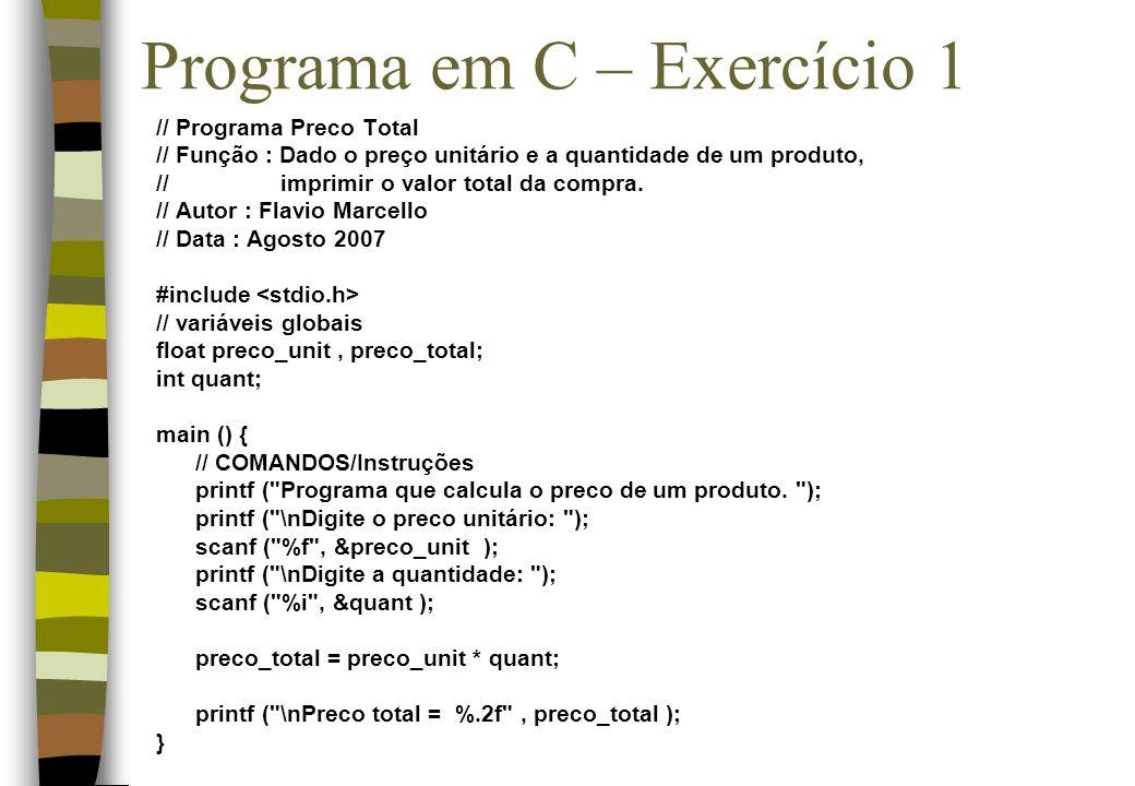 Programa em C – Exercício 1