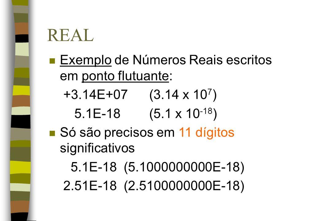 REAL Exemplo de Números Reais escritos em ponto flutuante: