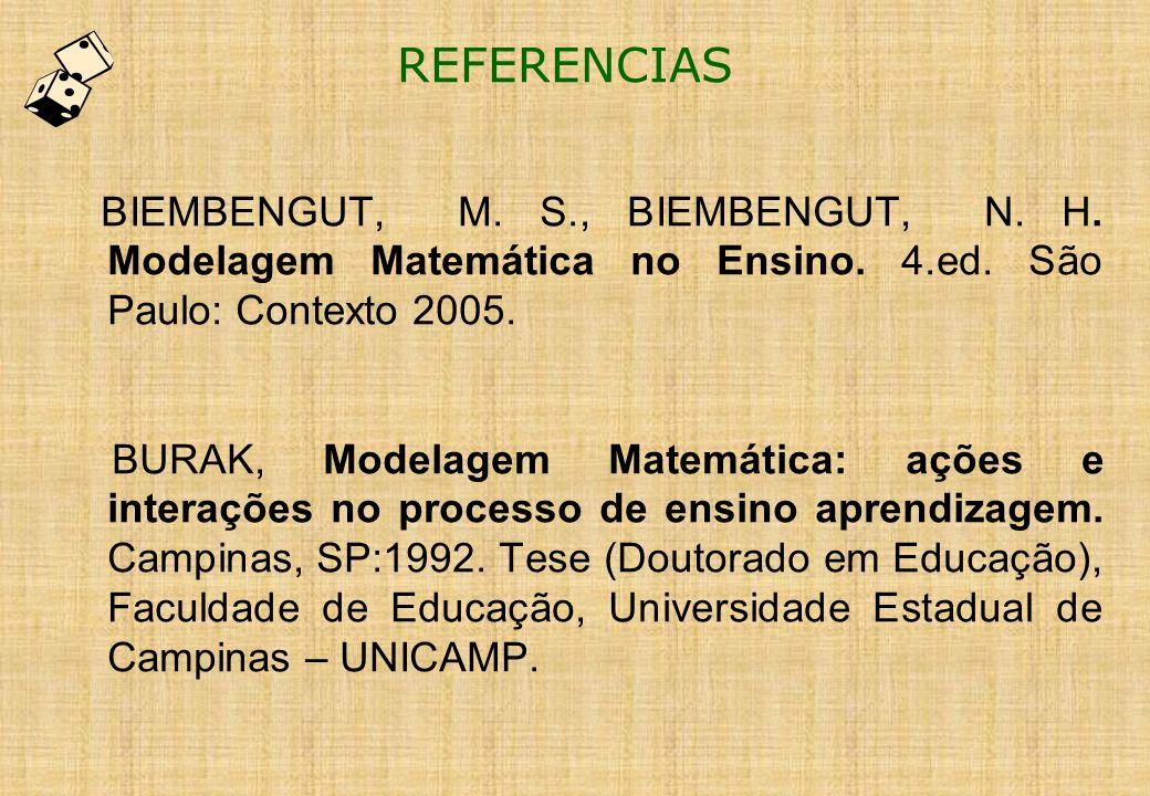 REFERENCIAS BIEMBENGUT, M. S., BIEMBENGUT, N. H. Modelagem Matemática no Ensino. 4.ed. São Paulo: Contexto 2005.