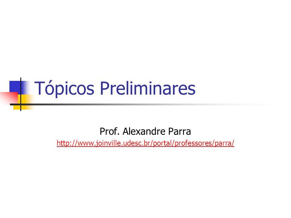 Tópicos Preliminares Prof. Alexandre Parra