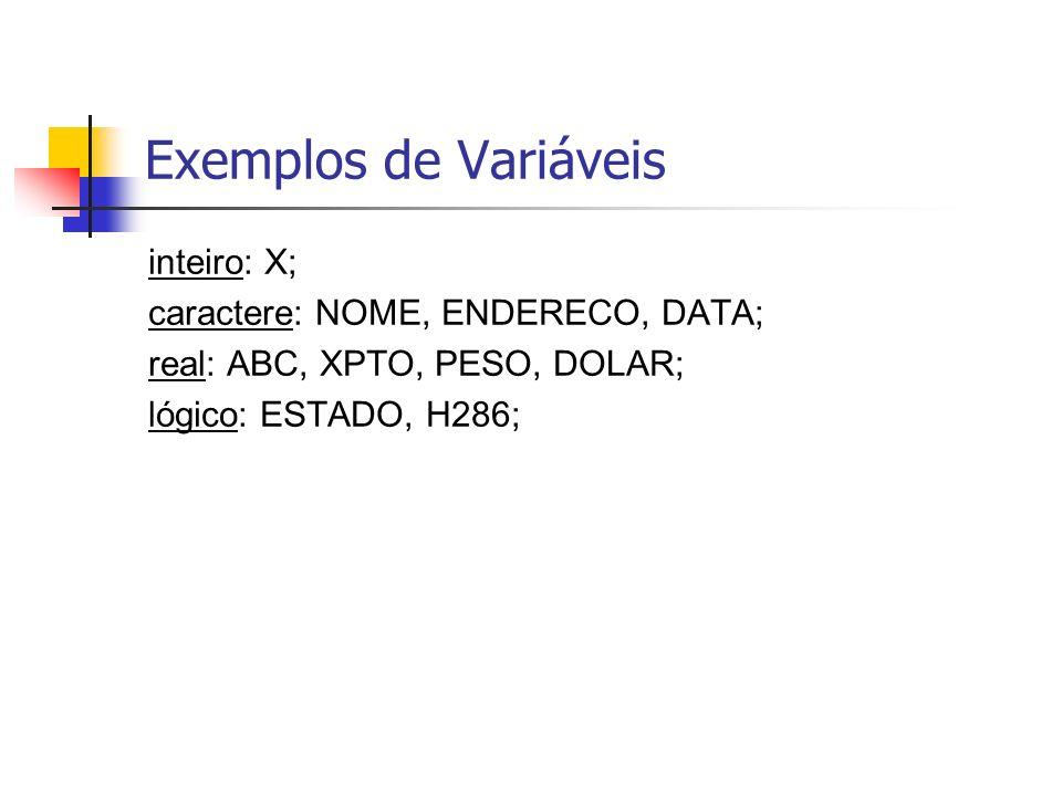 Exemplos de Variáveis inteiro: X; caractere: NOME, ENDERECO, DATA;