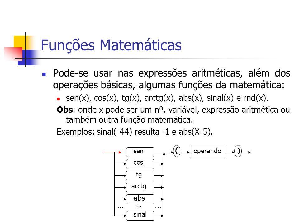 Funções Matemáticas Pode-se usar nas expressões aritméticas, além dos operações básicas, algumas funções da matemática: