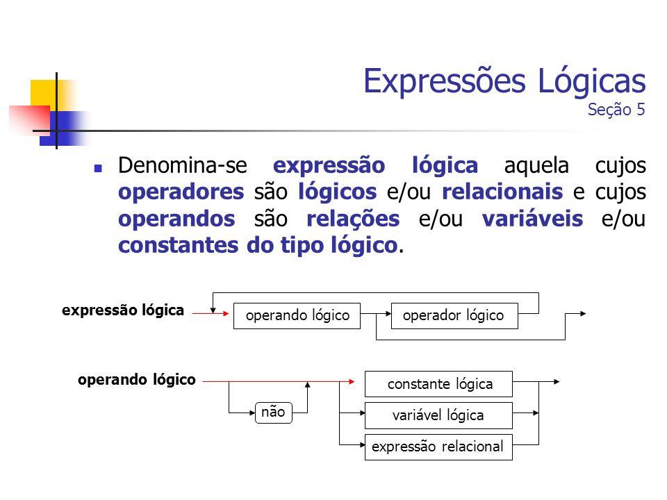 Expressões Lógicas Seção 5
