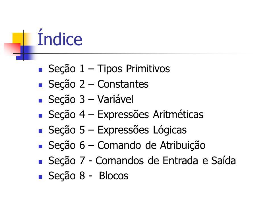 Índice Seção 1 – Tipos Primitivos Seção 2 – Constantes