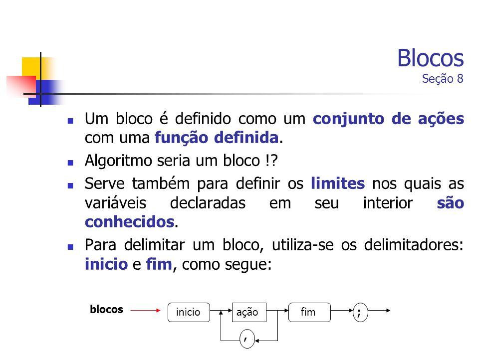 Blocos Seção 8 Um bloco é definido como um conjunto de ações com uma função definida. Algoritmo seria um bloco !