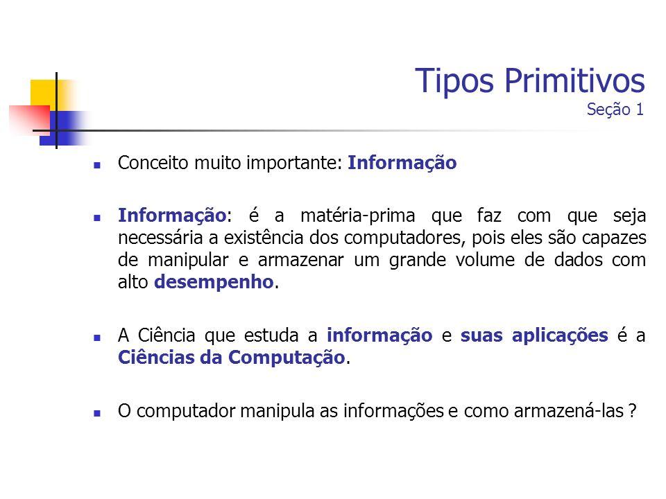 Tipos Primitivos Seção 1