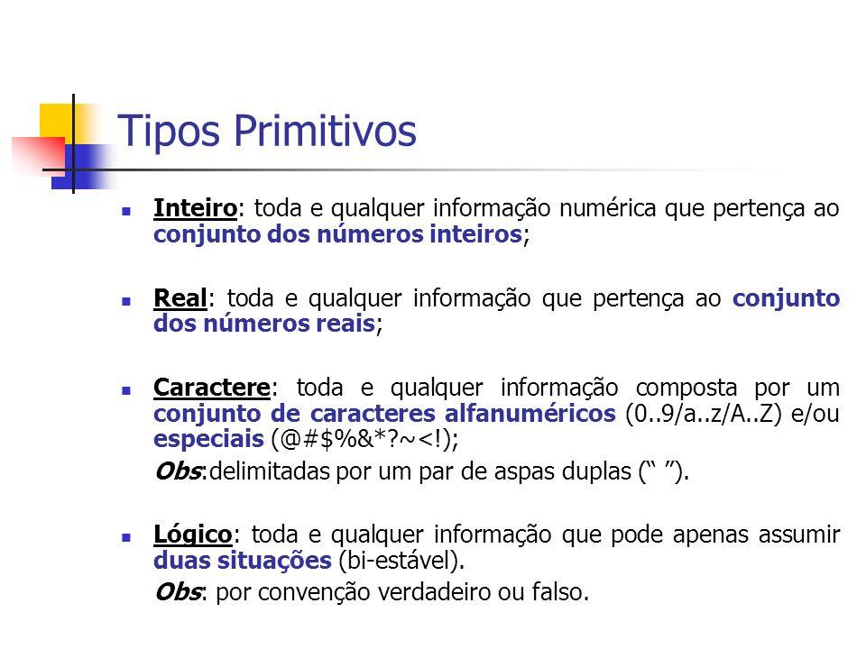 Tipos Primitivos Inteiro: toda e qualquer informação numérica que pertença ao conjunto dos números inteiros;
