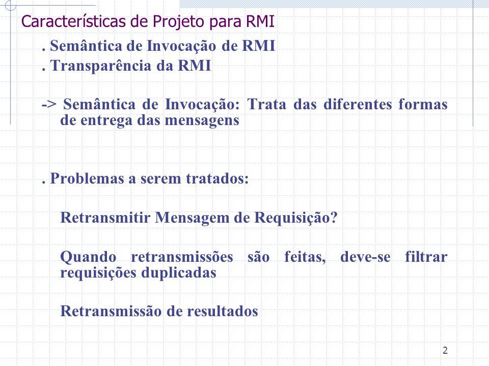 Características de Projeto para RMI