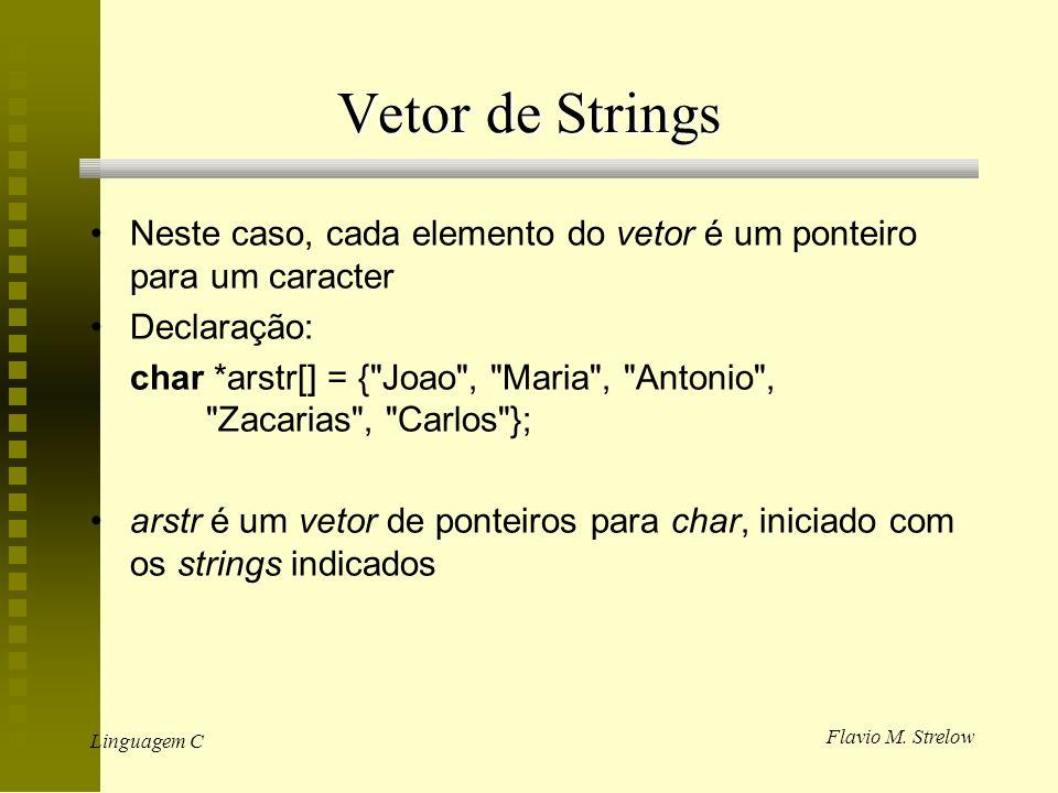 Vetor de Strings Neste caso, cada elemento do vetor é um ponteiro para um caracter. Declaração: