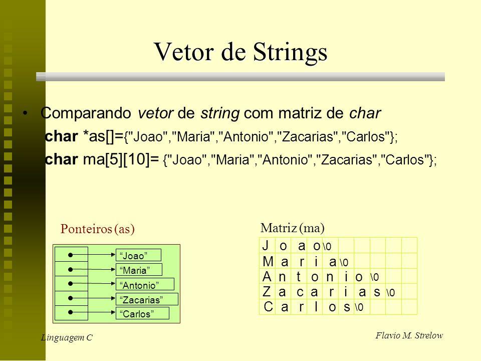 Vetor de Strings Comparando vetor de string com matriz de char