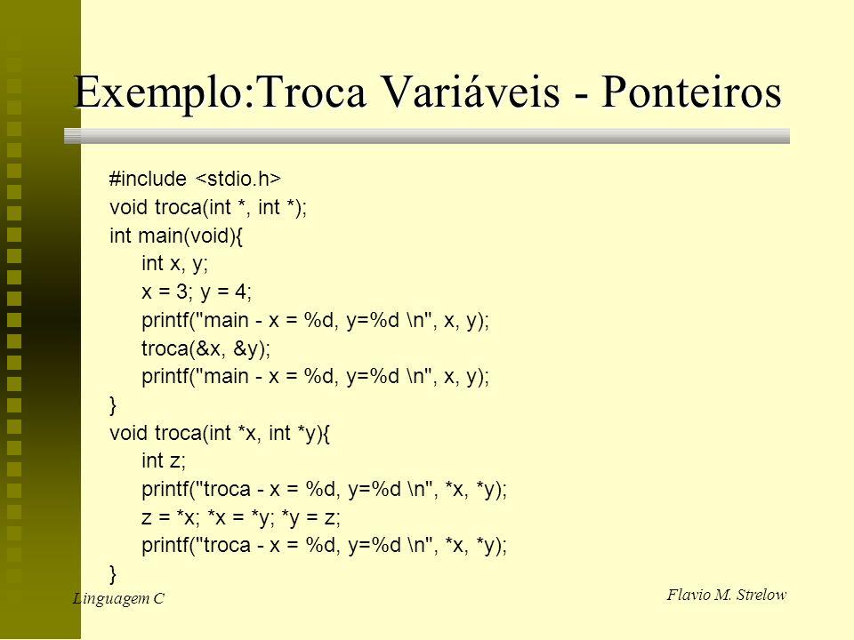 Exemplo:Troca Variáveis - Ponteiros