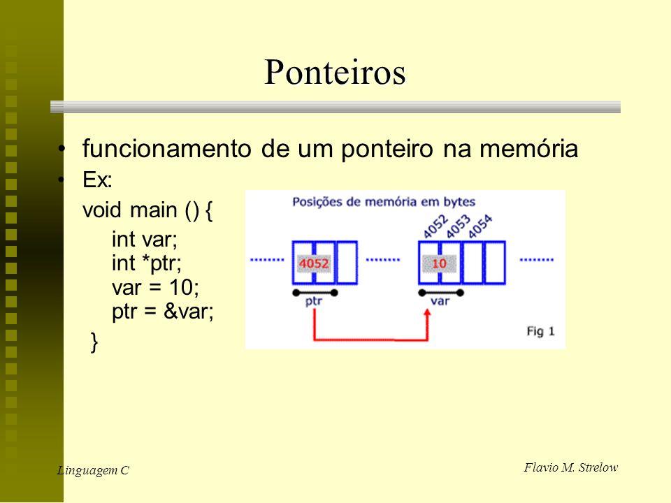 Ponteiros funcionamento de um ponteiro na memória Ex: void main () {