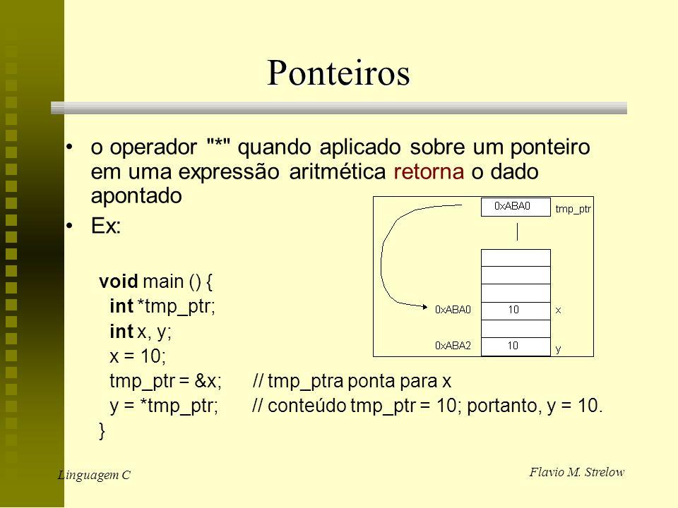 Ponteiros o operador * quando aplicado sobre um ponteiro em uma expressão aritmética retorna o dado apontado.