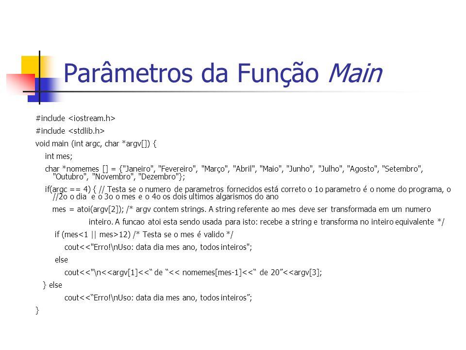 Parâmetros da Função Main