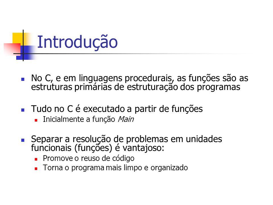 Introdução No C, e em linguagens procedurais, as funções são as estruturas primárias de estruturação dos programas.