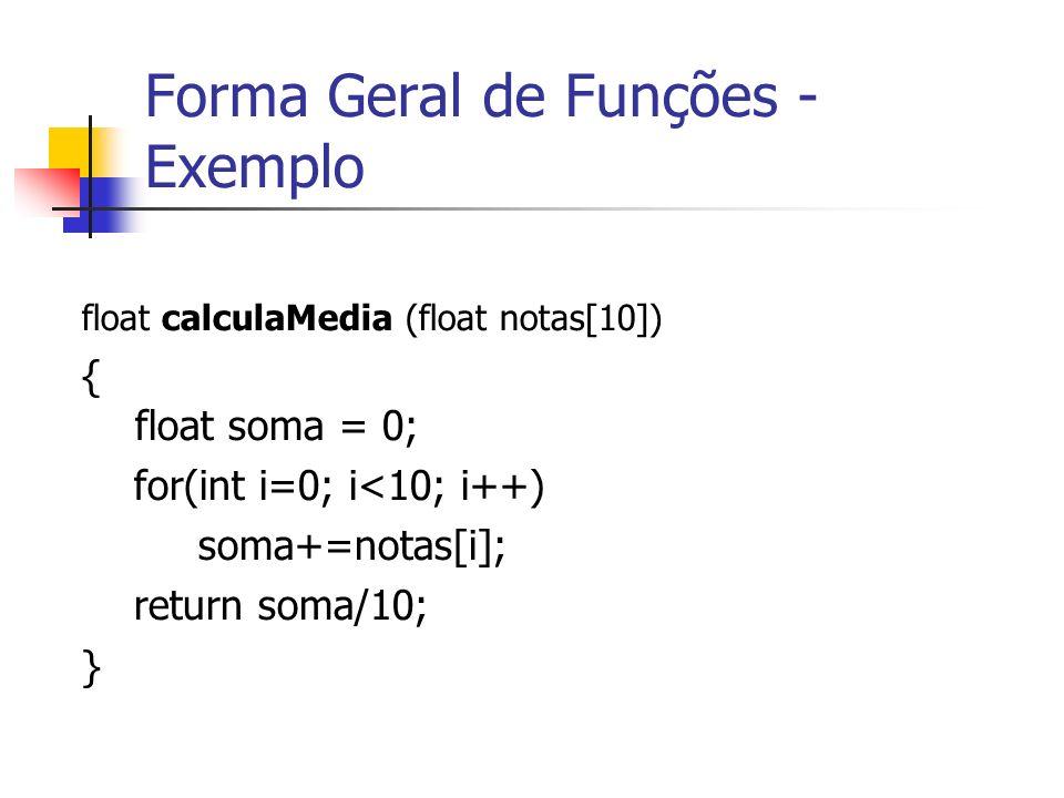 Forma Geral de Funções - Exemplo