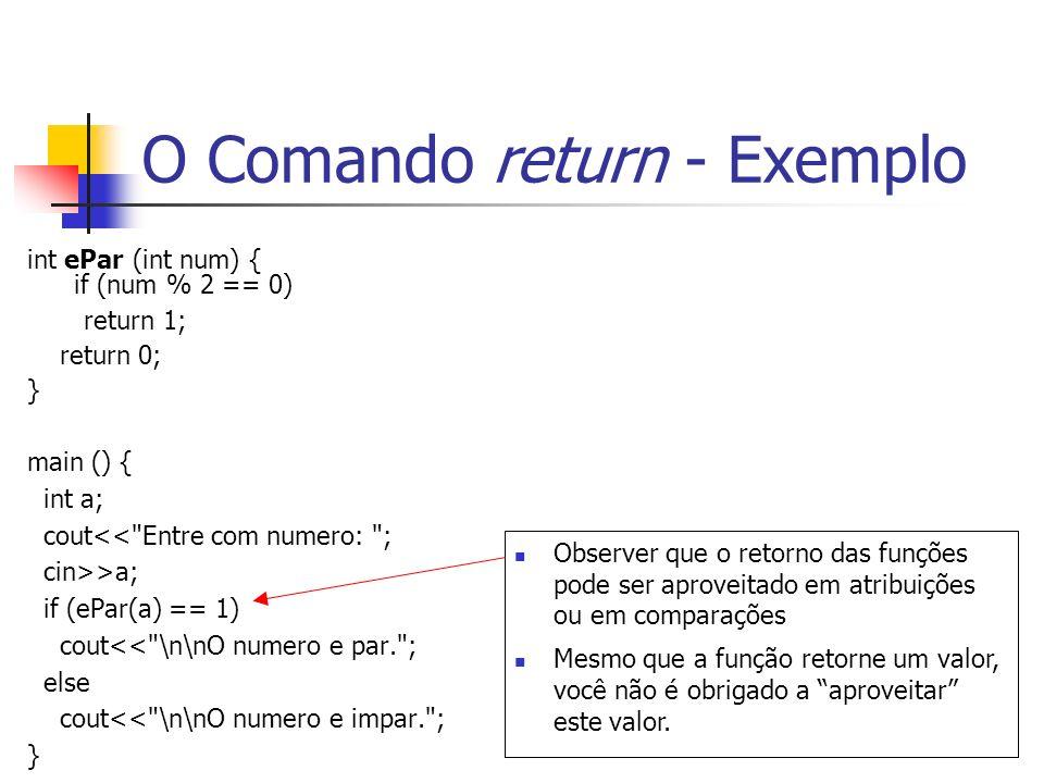 O Comando return - Exemplo