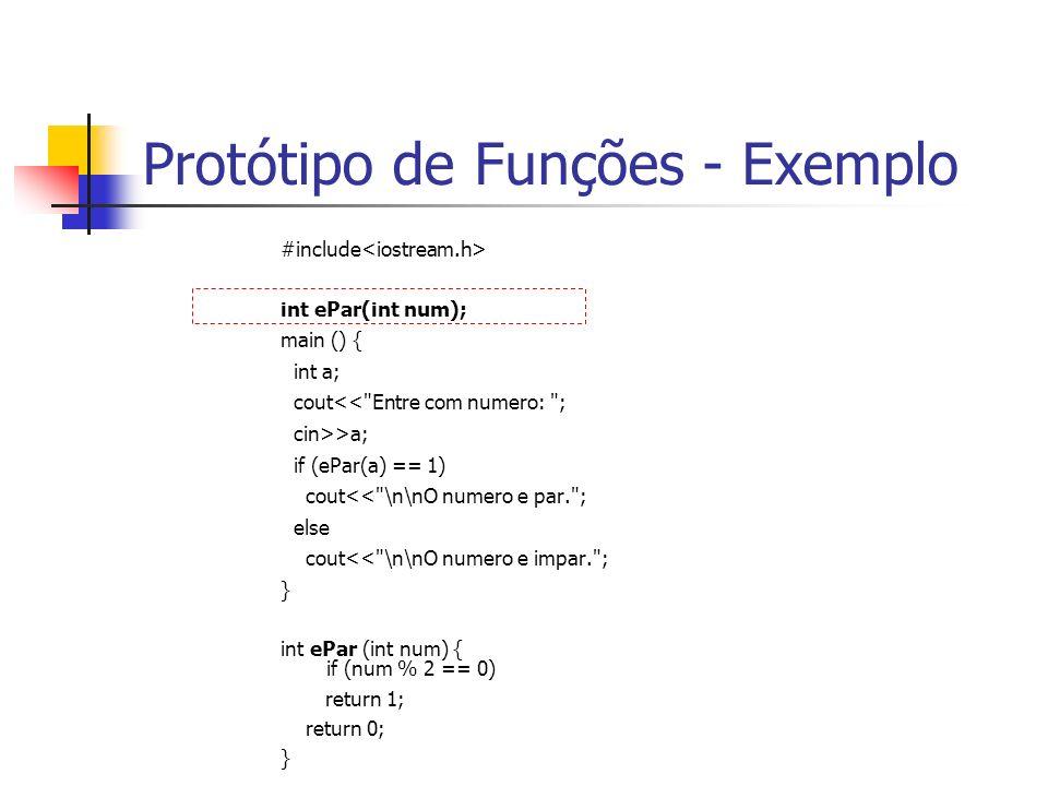Protótipo de Funções - Exemplo