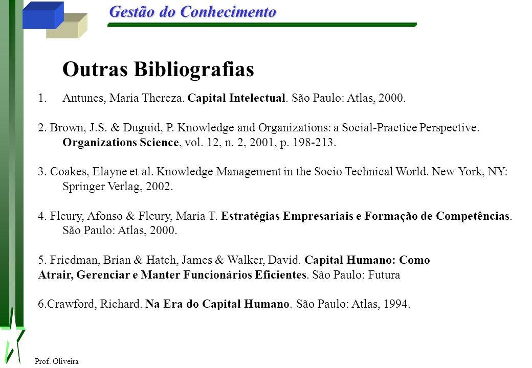 Outras Bibliografias Antunes, Maria Thereza. Capital Intelectual. São Paulo: Atlas, 2000.