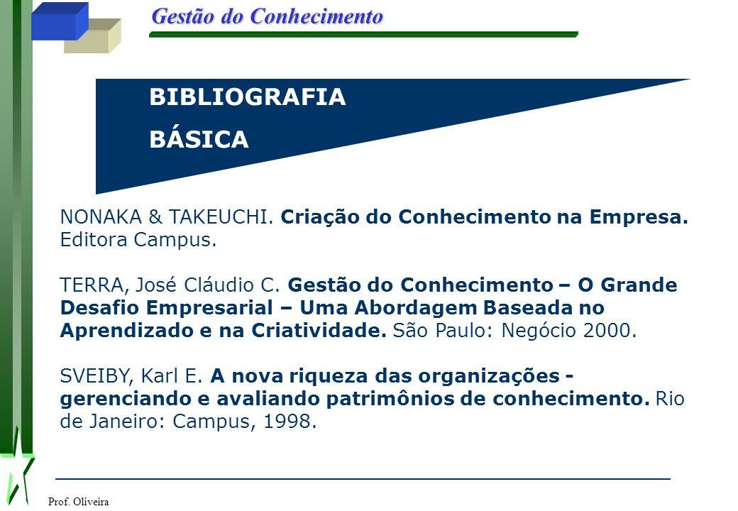 BIBLIOGRAFIA BÁSICA. NONAKA & TAKEUCHI. Criação do Conhecimento na Empresa. Editora Campus.