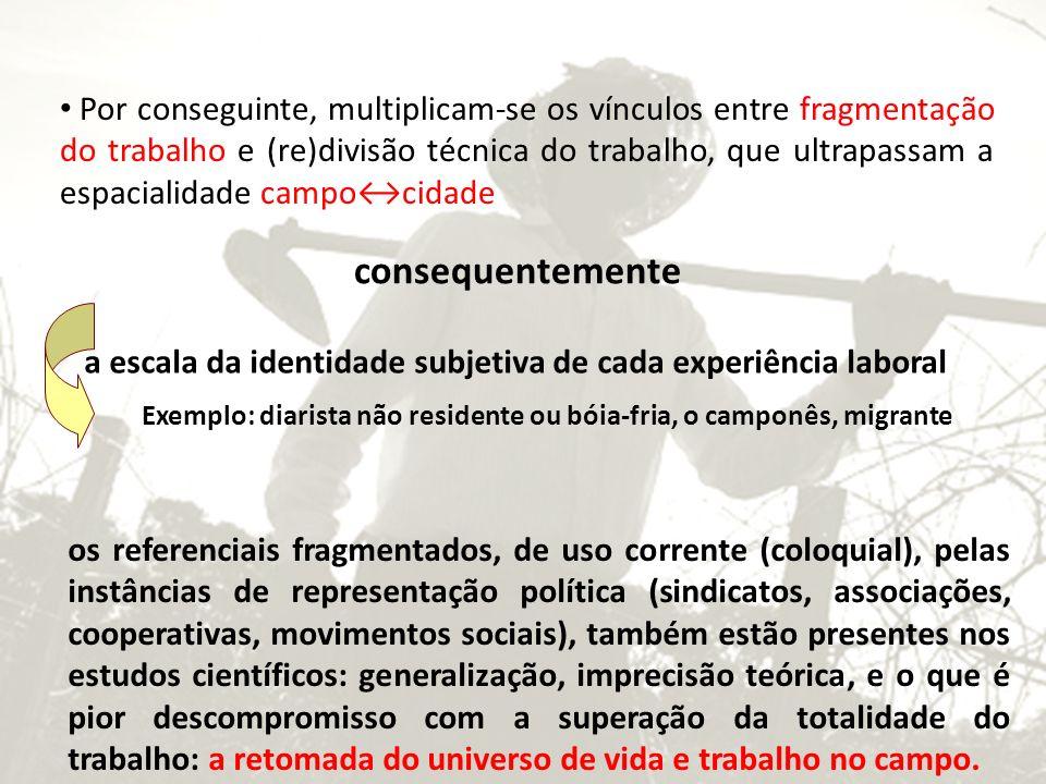 Por conseguinte, multiplicam-se os vínculos entre fragmentação do trabalho e (re)divisão técnica do trabalho, que ultrapassam a espacialidade campo↔cidade