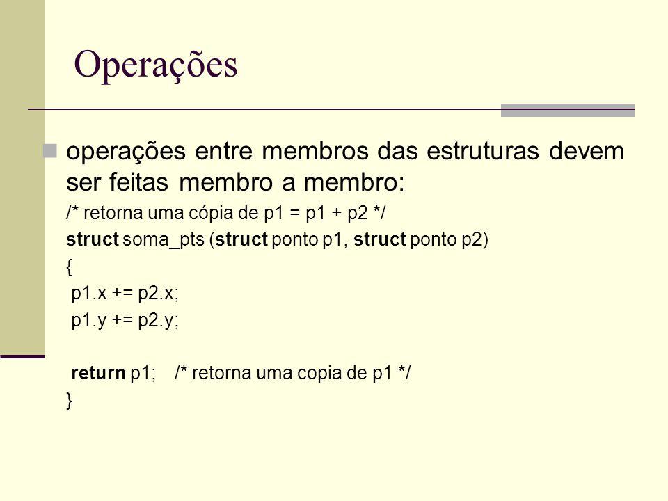 Operações operações entre membros das estruturas devem ser feitas membro a membro: /* retorna uma cópia de p1 = p1 + p2 */