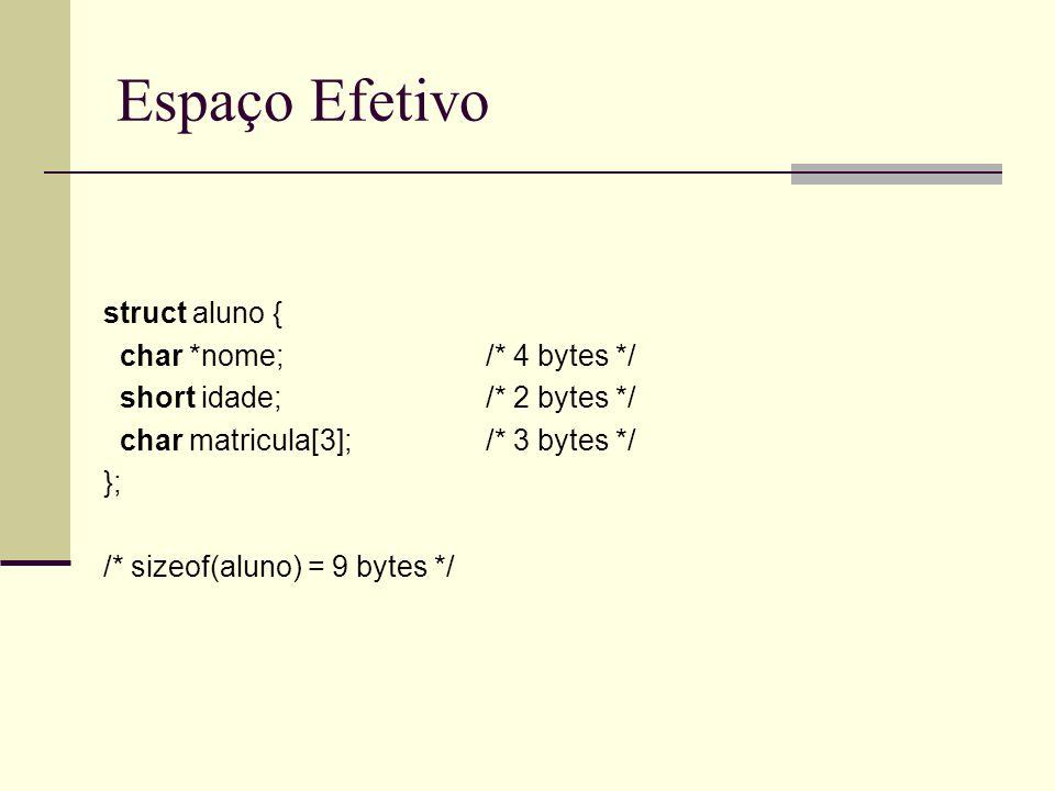 Espaço Efetivo struct aluno { char *nome; /* 4 bytes */