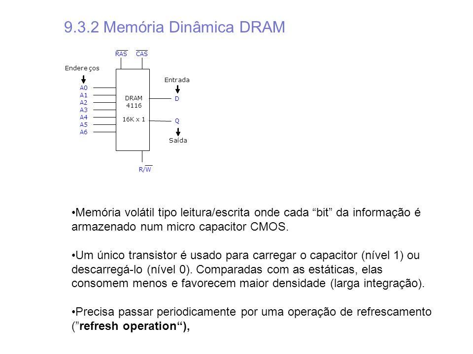 9.3.2 Memória Dinâmica DRAM RAS. CAS. Endere. ç. os. Entrada. A0. A1. DRAM. D. A2. 4116.