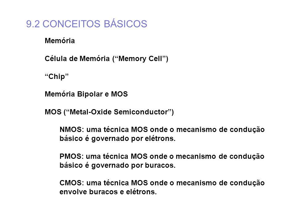 9.2 CONCEITOS BÁSICOS Memória Célula de Memória ( Memory Cell ) Chip