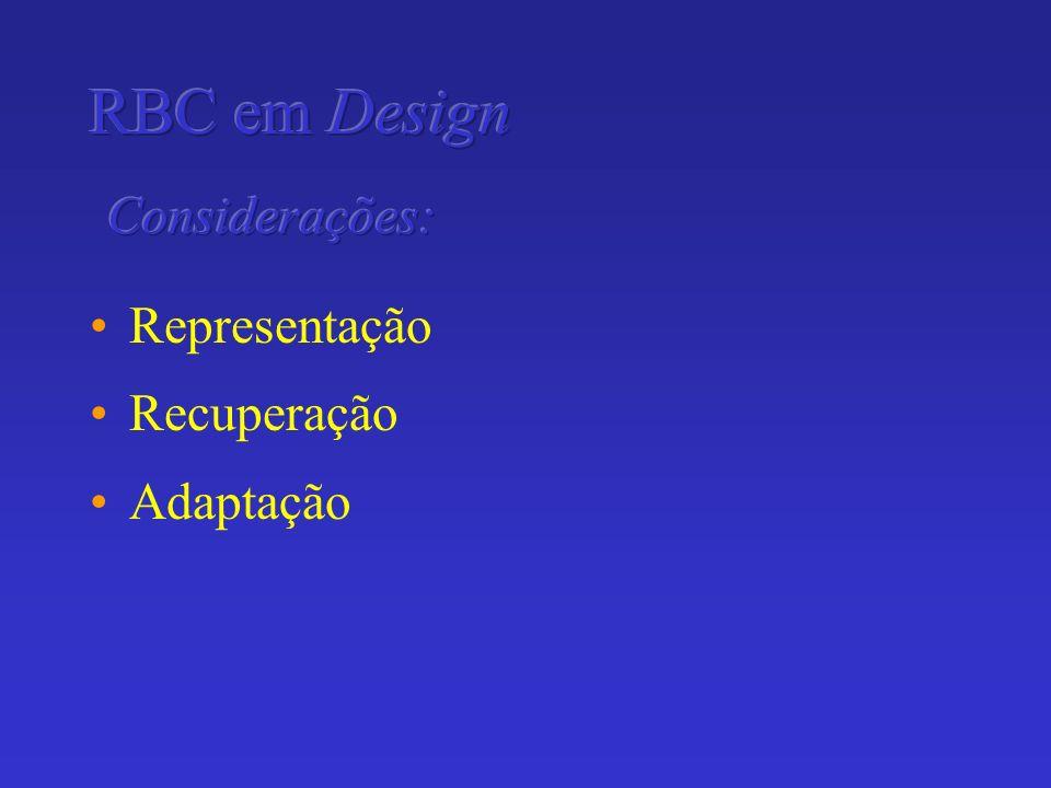 RBC em Design Considerações: Representação Recuperação Adaptação