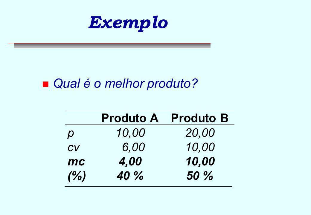 Exemplo Qual é o melhor produto Produto A Produto B p 10,00 20,00 cv
