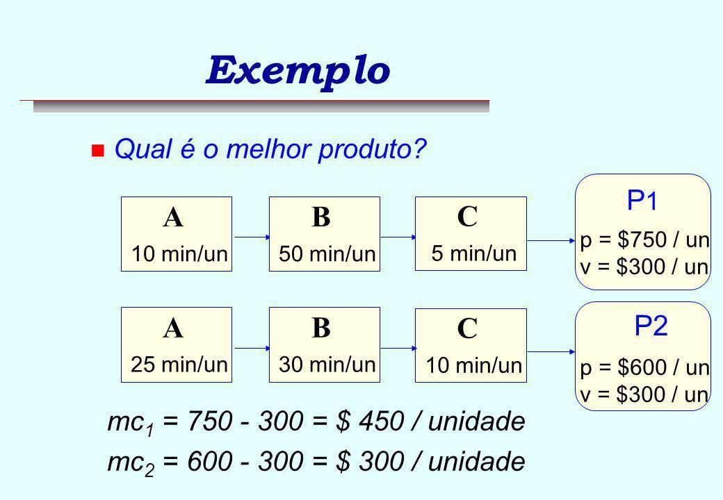 Exemplo A B C P1 P2 Qual é o melhor produto