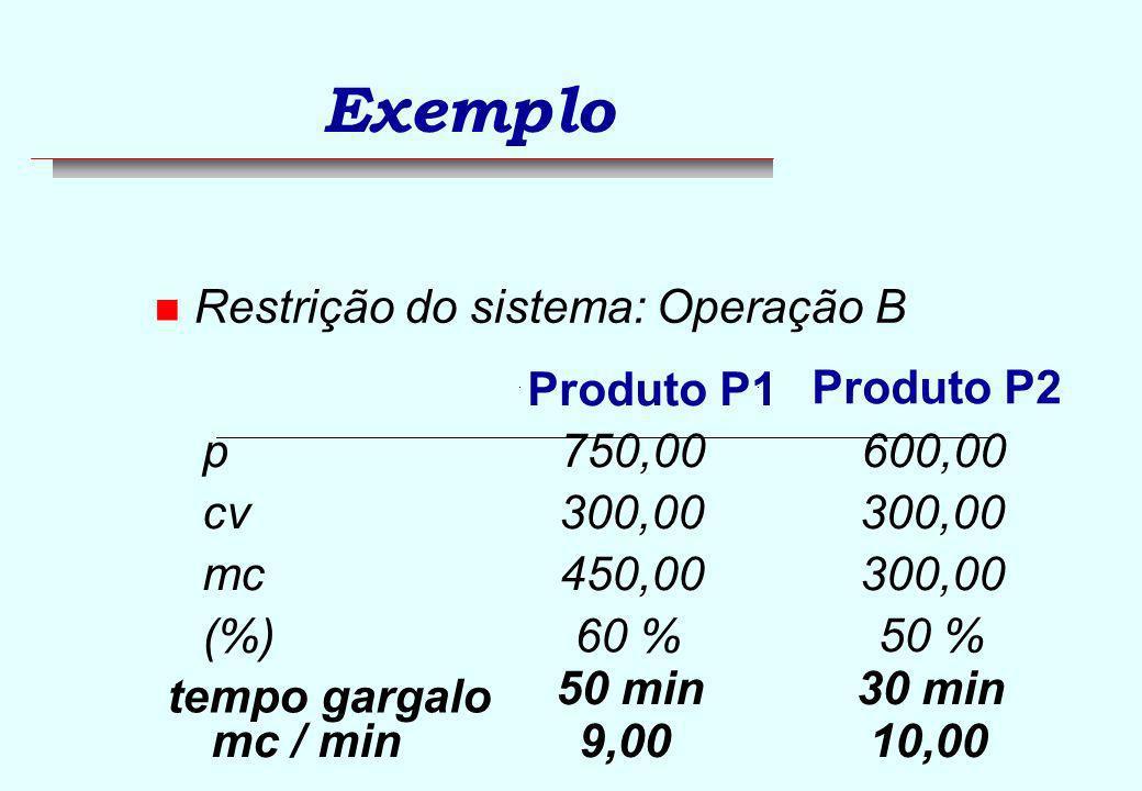 Exemplo Restrição do sistema: Operação B Produto P1 Produto P2 p