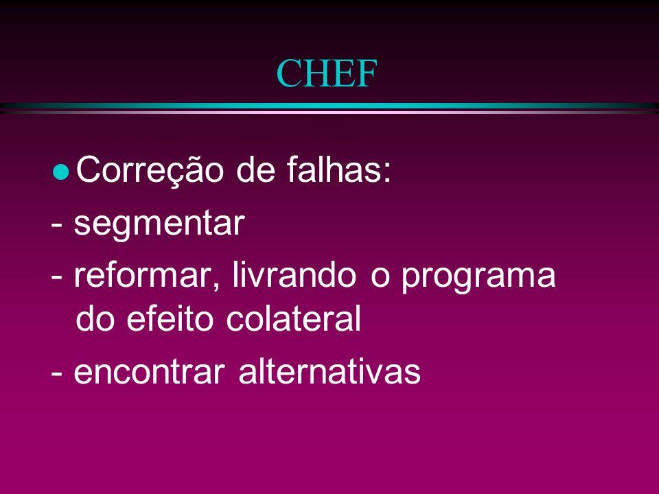 CHEF Correção de falhas: - segmentar