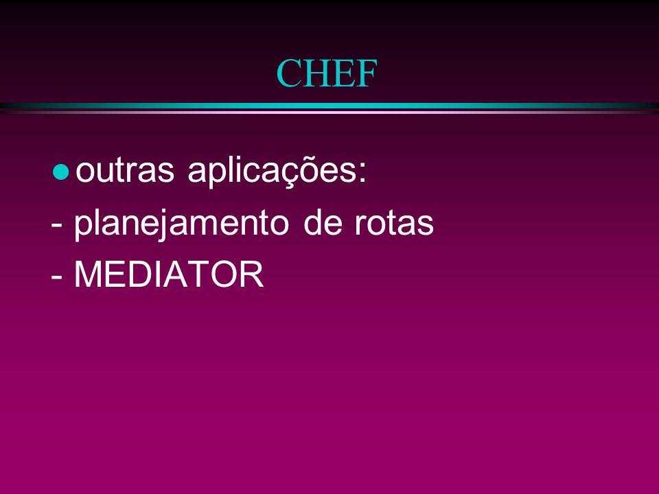 CHEF outras aplicações: - planejamento de rotas - MEDIATOR