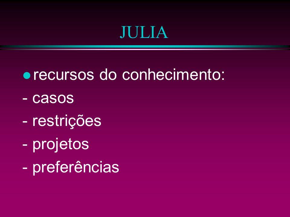 JULIA recursos do conhecimento: - casos - restrições - projetos