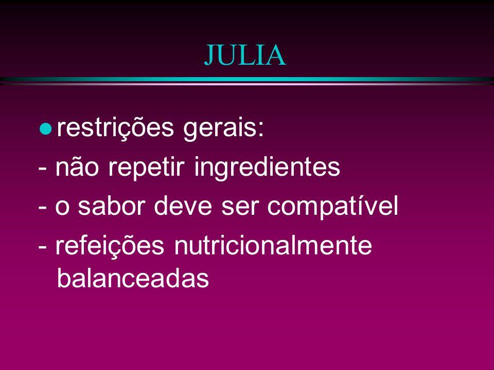 JULIA restrições gerais: - não repetir ingredientes