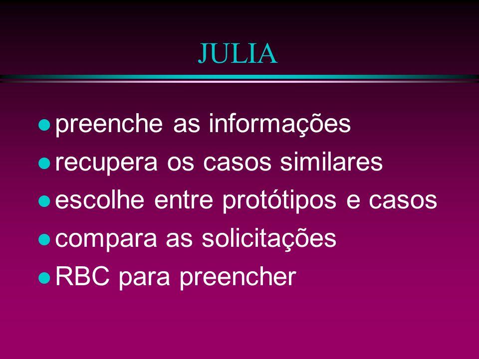 JULIA preenche as informações recupera os casos similares