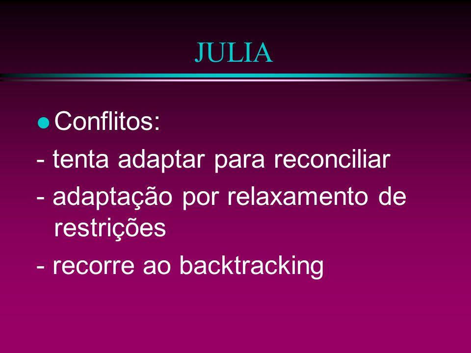 JULIA Conflitos: - tenta adaptar para reconciliar