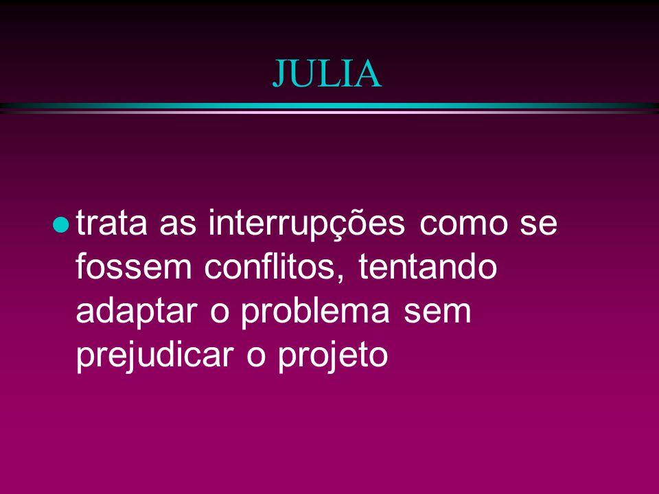 JULIA trata as interrupções como se fossem conflitos, tentando adaptar o problema sem prejudicar o projeto.
