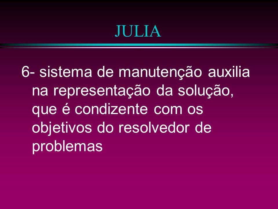 JULIA 6- sistema de manutenção auxilia na representação da solução, que é condizente com os objetivos do resolvedor de problemas.
